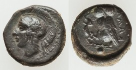 SICILY. Camarina. Ca. 420-405 BC. AE onkia (11mm, 1.39 gm, 9h). VF. Ca. 410-405 BC. Head of Athena left wearing crested Attic helmet decorated with wi...