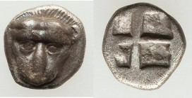 THRACO-MACEDONIAN TRIBES. Andreoe in Argilus. Ca. 510-465 BC. AR obol (8mm, 0.59 gm). VF. Head of panther facing / Quadripartite incuse square. A. Tsi...
