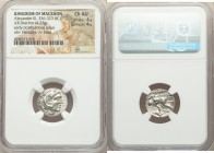 MACEDONIAN KINGDOM. Alexander III the Great (336-323 BC). AR drachm (17mm, 4.27 gm, 9h). NGC Choice AU 4/5 - 4/5. Early posthumous issues of Lampsacus...
