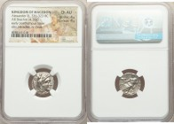 MACEDONIAN KINGDOM. Alexander III the Great (336-323 BC). AR drachm (16mm, 4.28 gm, 1h). NGC Choice AU 4/5 - 4/5. Late lifetime-early posthumous issue...