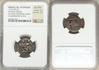 THRACIAN ISLANDS. Thasos. Ca. 500-450 BC. AR stater (22mm, 8.82 gm). NGC Choice VF S 5/5 - 5/5. Nude ithyphallic satyr running right, carrying struggl...