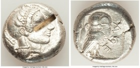 ATTICA. Athens. Ca. 479/8-475 BC. AR tetradrachm (22mm, 17.05 gm, 7h). XF, test cut. Head of Athena right, wearing crested Attic helmet ornamented wit...