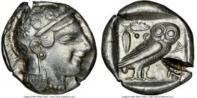 ATTICA. Athens. Ca. 465-455 BC. AR tetradrachm (25mm, 17.11 gm, 9h). NGC Choice XF 5/5 - 2/5, test cut, graffito. Head of Athena right, wearing creste...