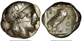 ATTICA. Athens. Ca. 455-440 BC. AR tetradrachm (26mm, 17.15 gm, 1h). NGC Choice AU 4/5 - 3/5. Early transitional issue. Head of Athena right, wearing ...