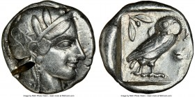 ATTICA. Athens. Ca. 455-440 BC. AR tetradrachm (24mm, 17.15 gm, 1h). NGC XF 4/5 - 2/5, test cut. Early transitional issue. Head of Athena right, weari...