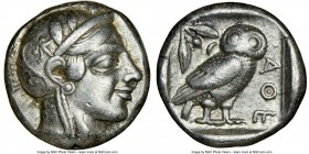 ATTICA. Athens. Ca. 455-440 BC. AR tetradrachm (23mm, 17.10 gm, 7h). NGC Choice VF 5/5 - 5/5. Early transitional issue. Head of Athena right, wearing ...