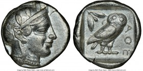 ATTICA. Athens. Ca. 455-440 BC. AR tetradrachm (25mm, 17.16 gm, 3h). NGC Choice VF 5/5 - 4/5. Early transitional issue. Head of Athena right, wearing ...