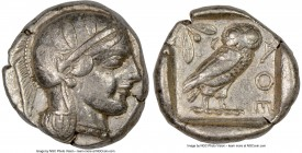 ATTICA. Athens. Ca. 455-440 BC. AR tetradrachm (25mm, 17.16 gm, 3h). NGC Choice VF 5/5 - 3/5, edge cut. Early transitional issue. Head of Athena right...