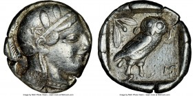 ATTICA. Athens. Ca. 455-440 BC. AR tetradrachm (24mm, 17.06 gm, 2h). NGC VF 4/5 - 3/5. Early transitional issue. Head of Athena right, wearing crested...