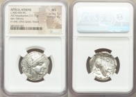 ATTICA. Athens. Ca. 440-404 BC. AR tetradrachm (25mm, 17.17 gm, 10h). NGC MS 5/5 - 4/5. Mid-mass coinage issue. Head of Athena right, wearing crested ...