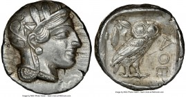 ATTICA. Athens. Ca. 440-404 BC. AR tetradrachm (25mm, 17.21 gm, 3h). NGC Choice AU 5/5 - 4/5, brushed. Mid-mass coinage issue. Head of Athena right, w...