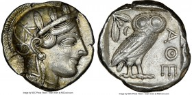 ATTICA. Athens. Ca. 440-404 BC. AR tetradrachm (25mm, 17.20 gm, 9h). NGC AU 5/5 - 4/5. Mid-mass coinage issue. Head of Athena right, wearing crested A...