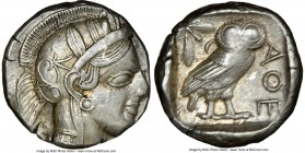 ATTICA. Athens. Ca. 440-404 BC. AR tetradrachm (24mm, 17.20 gm, 7h). NGC AU 3/5 - 4/5. Mid-mass coinage issue. Head of Athena right, wearing crested A...
