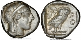 ATTICA. Athens. Ca. 440-404 BC. AR tetradrachm (25mm, 17.15 gm, 7h). NGC Choice XF 4/5 - 4/5. Mid-mass coinage issue. Head of Athena right, wearing cr...