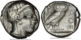 ATTICA. Athens. Ca. 440-404 BC. AR tetradrachm (23mm, 17.19 gm, 4h). NGC Choice XF 5/5 - 4/5, brushed. Mid-mass coinage issue. Head of Athena right, w...