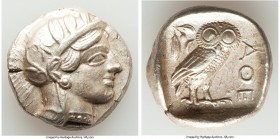 ATTICA. Athens. Ca. 440-404 BC. AR tetradrachm (25mm, 17.24 gm, 7h). AU. Mid-mass coinage issue. Head of Athena right, wearing crested Attic helmet or...