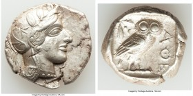 ATTICA. Athens. Ca. 440-404 BC. AR tetradrachm (26mm, 17.15 gm, 2h). Choice XF, scuff. Mid-mass coinage issue. Head of Athena right, wearing crested A...