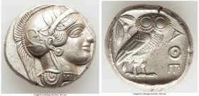 ATTICA. Athens. Ca. 440-404 BC. AR tetradrachm (24mm, 17.16 gm, 5h). AU. Mid-mass coinage issue. Head of Athena right, wearing crested Attic helmet or...