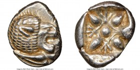 IONIA. Miletus. Ca. late 6th-5th centuries BC. AR 1/12 stater or obol (11mm, 1.20 gm). NGC MS 4/5 - 5/5. Milesian standard. Forepart of roaring lion l...