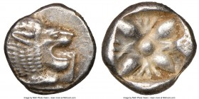 IONIA. Miletus. Ca. late 6th-5th centuries BC. AR 1/12 stater or obol (10mm). NGC Choice XF. Milesian standard. Forepart of roaring lion left, head re...