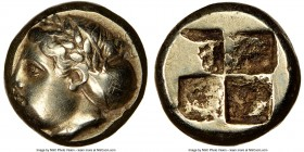 IONIA. Phocaea. Ca. 387-326 BC. EL sixth-stater or hecte (10mm). NGC VF. Female head left, hair bound in netted saccos and sphendone; seal swimming ri...