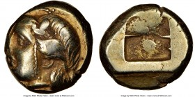 IONIA. Phocaea. Ca. 387-326 BC. EL sixth-stater or hecte (10mm). NGC VF, flan flaw. Head of Io left, hair bound with taenia, horn above temple; seal l...