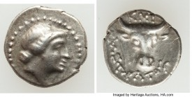 CARIA. Cnidus. Ca. 300-225 BC. AR diobol (12mm, 1.22 gm, 10h). Choice VF. Systratus as Magistrate. Head of Aphrodite right; dotted border / KNI / ΣYΣT...