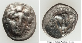 CARIAN ISLANDS. Rhodes. Ca. 230-205 BC. AR hemidrachm (13mm, 1.47 gm, 11h). VF. Aristocritus, magistrate. Head of Helios facing, turned slightly right...
