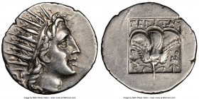 CARIAN ISLANDS. Rhodes. Ca. 88-84 BC. AR drachm (17mm, 12h). NGC AU. 'Plinthophoric' coinage. Peritas, magistrate. Radiate head of Helios right / ΠEPI...