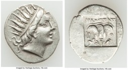 CARIAN ISLANDS. Rhodes. Ca. 88-84 BC. AR drachm (17mm, 1.93 gm, 12h). About XF. Plinthophoric standard, Philostratus, magistrate. Radiate head of Heli...