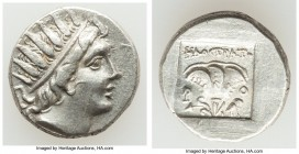 CARIAN ISLANDS. Rhodes. Ca. 88-84 BC. AR drachm (15mm, 3.09 gm, 1h). About XF. Plinthophoric standard, Philostratus, magistrate. Radiate head of Helio...