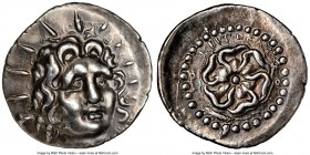 CARIAN ISLANDS. Rhodes. Ca. 84-30 BC. AR drachm (20mm, 7h). NGC Choice XF. Critocles, magistrate. Radiate head of Helios facing, turned slightly right...