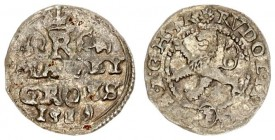Austria Bohemia 1 Maley Groschen 1589 Rudolf II (1576-1612). Kuttenberg. Averse: Crowned Bohemia lion in a circle. Legend around with mint mark below....
