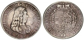 Austria 1 Thaler 1654 Hall. Archduke Ferdinand Karl (1632-1662). Averse: Bust to right. Reverse: Crowned coat-of-arms. Dav. 3367