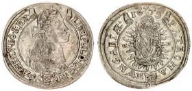 Austria Hungary 15 Krajczar 1675 KB Kremnica. Leopold I(1657-1705). Averse: Bust laureate right legends on scroll. Reverse: Radiant Madonna and child ...