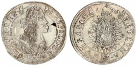 Austria Hungary 15 Krajczar 1676 KB Kremnica. Leopold I(1657-1705). Averse: Bust laureate right legends on scroll. Reverse: Radiant Madonna and child ...