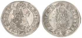 Austria Hungary 15 Krajczar 1677 KB Kremnica. Leopold I(1657-1705). Averse: Bust laureate right legends on scroll. Reverse: Radiant Madonna and child ...
