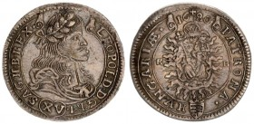 Austria Hungary 15 Krajczar 1680 KB Kremnica. Leopold I(1657-1705). Averse: Bust laureate right legends on scroll. Reverse: Radiant Madonna and child ...