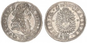 Austria Hungary 15 Krajczar 1682 KB Kremnica. Leopold I(1657-1705). Averse: Bust laureate right legends on scroll. Reverse: Radiant Madonna and child ...