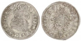 Austria Hungary 15 Krajczar 1684 KB Kremnica. Leopold I(1657-1705). Averse: Bust laureate right legends on scroll. Reverse: Radiant Madonna and child ...