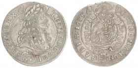Austria Hungary 15 Krajczar 1685 KB Kremnica. Leopold I(1657-1705). Averse: Bust laureate right legends on scroll. Reverse: Radiant Madonna and child ...
