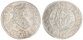 Austria Hungary 15 Krajczar 1692 KB Kremnica. Leopold I(1657-1705). Averse: Bust laureate right solid inner circle. Reverse: Radiant Madonna and child...