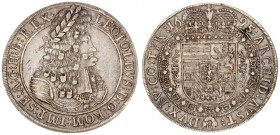 Austria 1 Thaler 1695 Hall. Leopold I(1657-1705). Averse: Old laureate bust right in inner circle. Averse Legend: LEOPOLDVS • D: G: ROM: IMP: SE: A: G...
