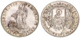 Austria Salzburg 1 Thaler 1758 Sigmund III(1753-1771). Averse: Madonna and child within square Cardinals' hat above oval shield at right. angel at lef...