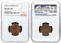 Austria 1 Kreuzer 1851 A Franz Joseph I(1848-1916). Averse: Crowned imperial double eagle. Reverse: Denomination. Copper. KM 2185. NGC MS 64+ BN ONLY ...