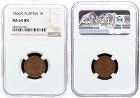 Austria 1 Kreuzer 1860 A Franz Joseph I(1848-1916). Averse: Small eagle. Reverse: Denomination and date within wreath. Copper. KM 2186. NGC MS 64 BN T...