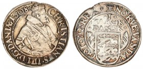 Denmark 1 Mark 1608 (m) Christian IV (1588-1648). Averse: Crowned 1/2-length figure right date in legend. Reverse: Value above flat-top shield between...