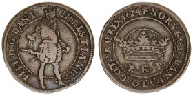 Denmark 1 Krone 1624 (a) Christian IV(1588-1648). Averse: Crowned standing figure of Christian IV numerals IIII left of King's feet. Reverse: Open cro...