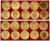 Europe 2000 Miniature replica of gold coins. In box. Lot of 10 Coins