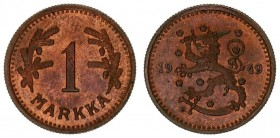 Finland 1 Markka 1949 H Helsinki. Averse: Rampant lion left divides date. Reverse: Denomination flanked by branches. Copper. Of great rarity. Only 250...
